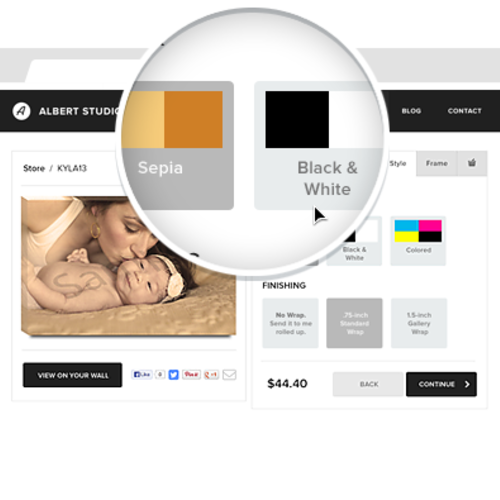 Site Example - selecting colorways