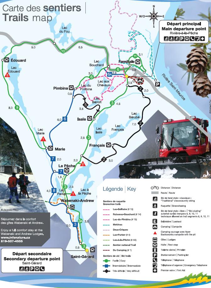 carte des sentiers de ski de fond parc de la mauricie