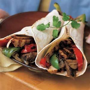 Beef-and-Chicken Fajitas with Peppers and Onions recipe