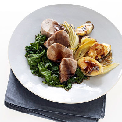 Balsamic Pork with Fennel, Arugula and Parsnips recipe