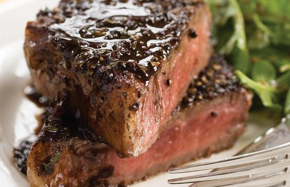 Pepper Crusted Steak w/ Worcestershire-Butter Sauce recipe