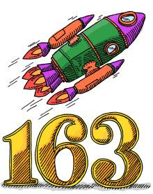 Rocket flying over the number 163