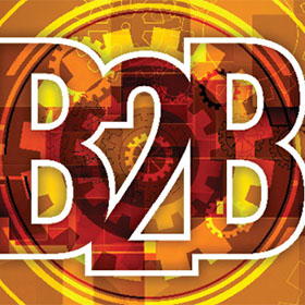 Illustrated B2B text with cog background