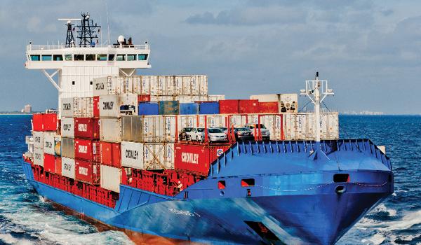 Cargo ship carrying intermodal shipping containers