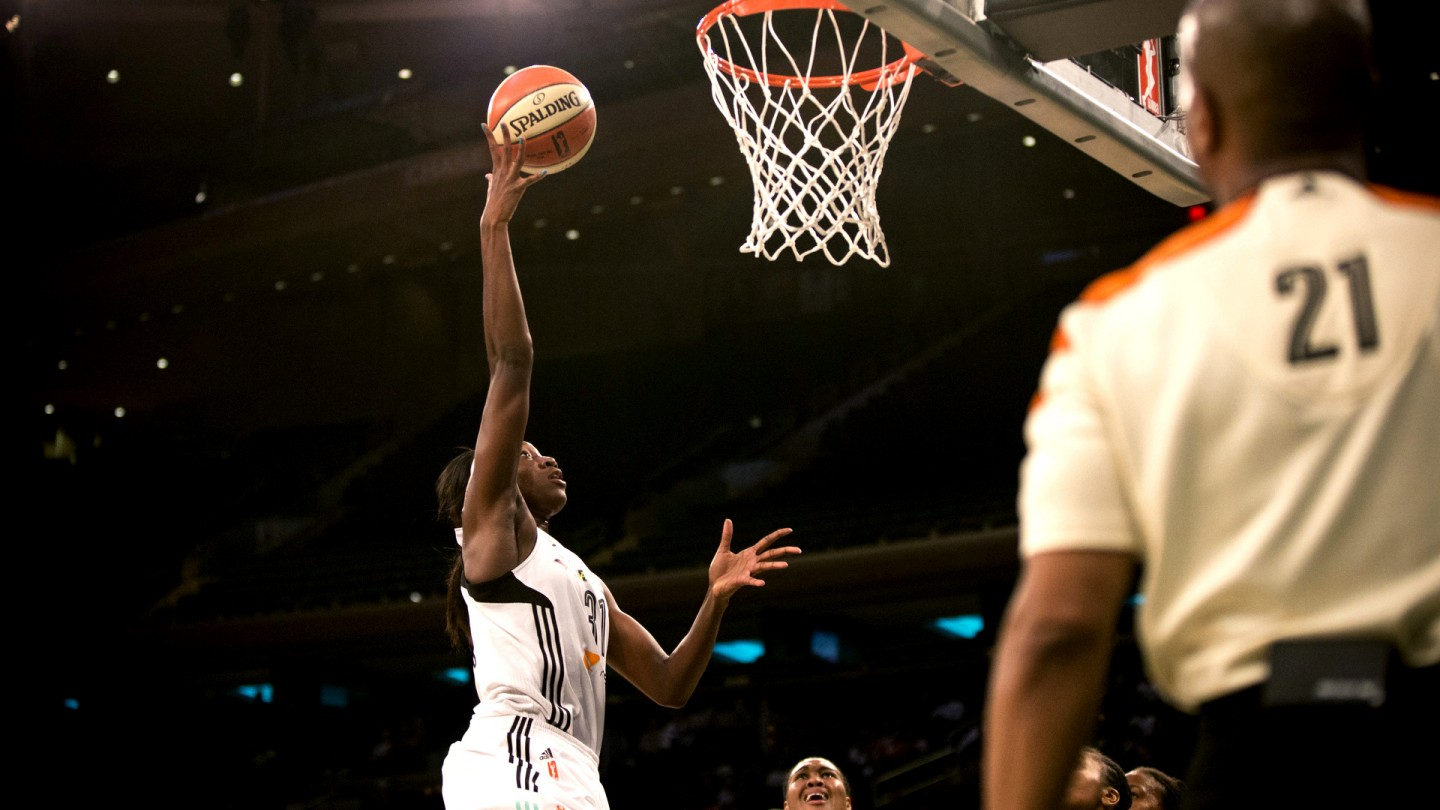 Tina Charles scores during Game 1 of the Eastern Conference Finals.