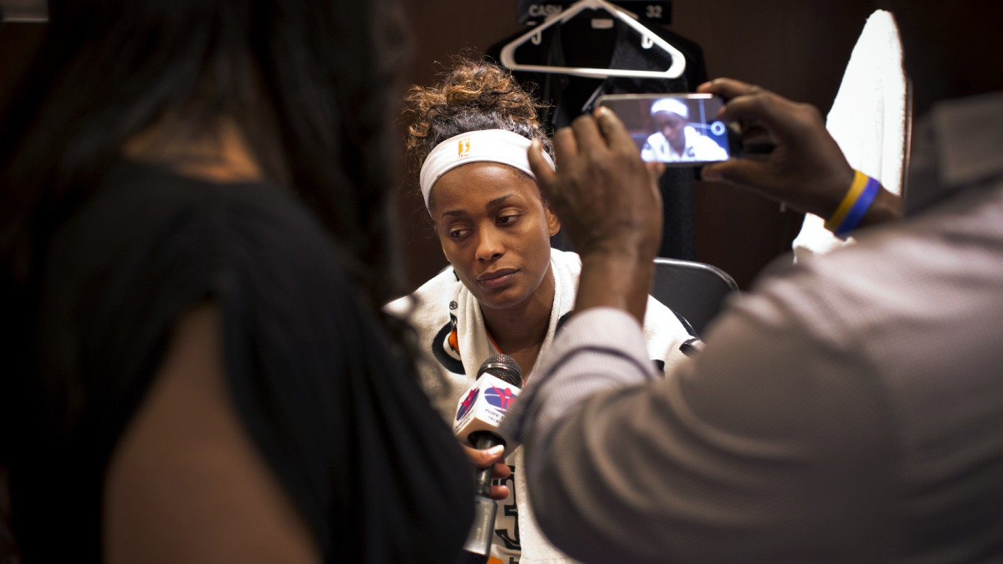 Swin Cash is interviewed in the locker room after their Eastern Conference Final loss.