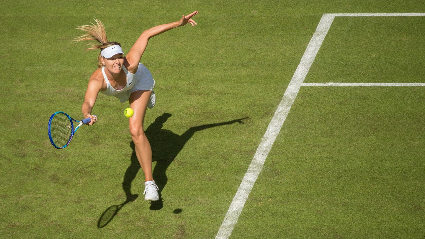 Maria Sharapova defeated Johanna Konta in straight sets in the first round of the Ladies' Singles on Day 1.