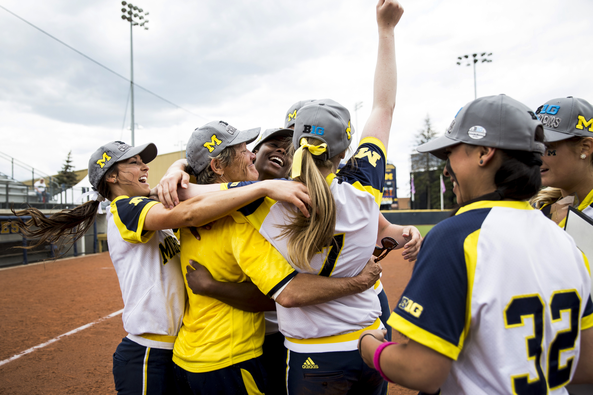 The Michigan Wolverine softball team plays Rutgers on May 8, 2016 in Ann Arbor, MI. (Photo by Taylor Baucom/The Players' Tribune)