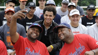 CLEVELAND, OH - JUNE 20:  Chris Archer #22 of the Tampa Bay Rays poses for a photo with members of Cleveland RBI during his visit to the Cleveland Baseball Federation RBI on Saturday, June 20, in Cleveland, Ohio. (Photo by Joe Sargent/MLB Photos via Getty Images) *** Local Caption ***