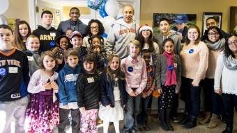 The Garden of Dreams Foundation and The Players' Tribune teamed up for a Christmas event at the Make-A-Wish house in Tarrytown, New York. Former Knicks player John Starks and current player Langston Galloway stopped by to greet the kids. (Photo by Taylor Baucom/The Players' Tribune)