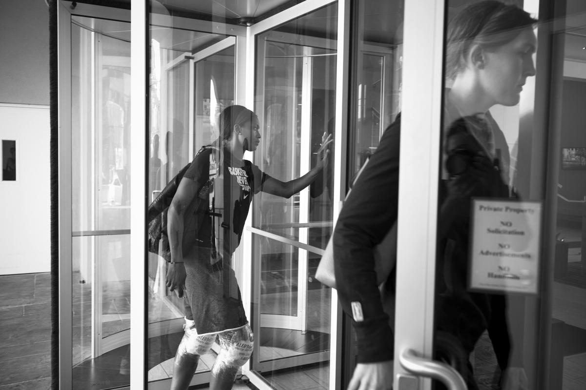 Swin Cash and Carolyn Swords enter the hotel in San Antonio, Texas.