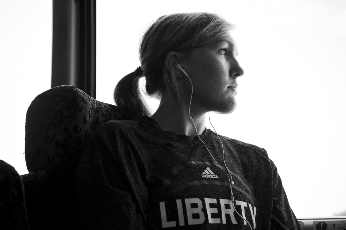 Carolyn Swords on the bus to the stadium for their game against the San Antonio Stars.