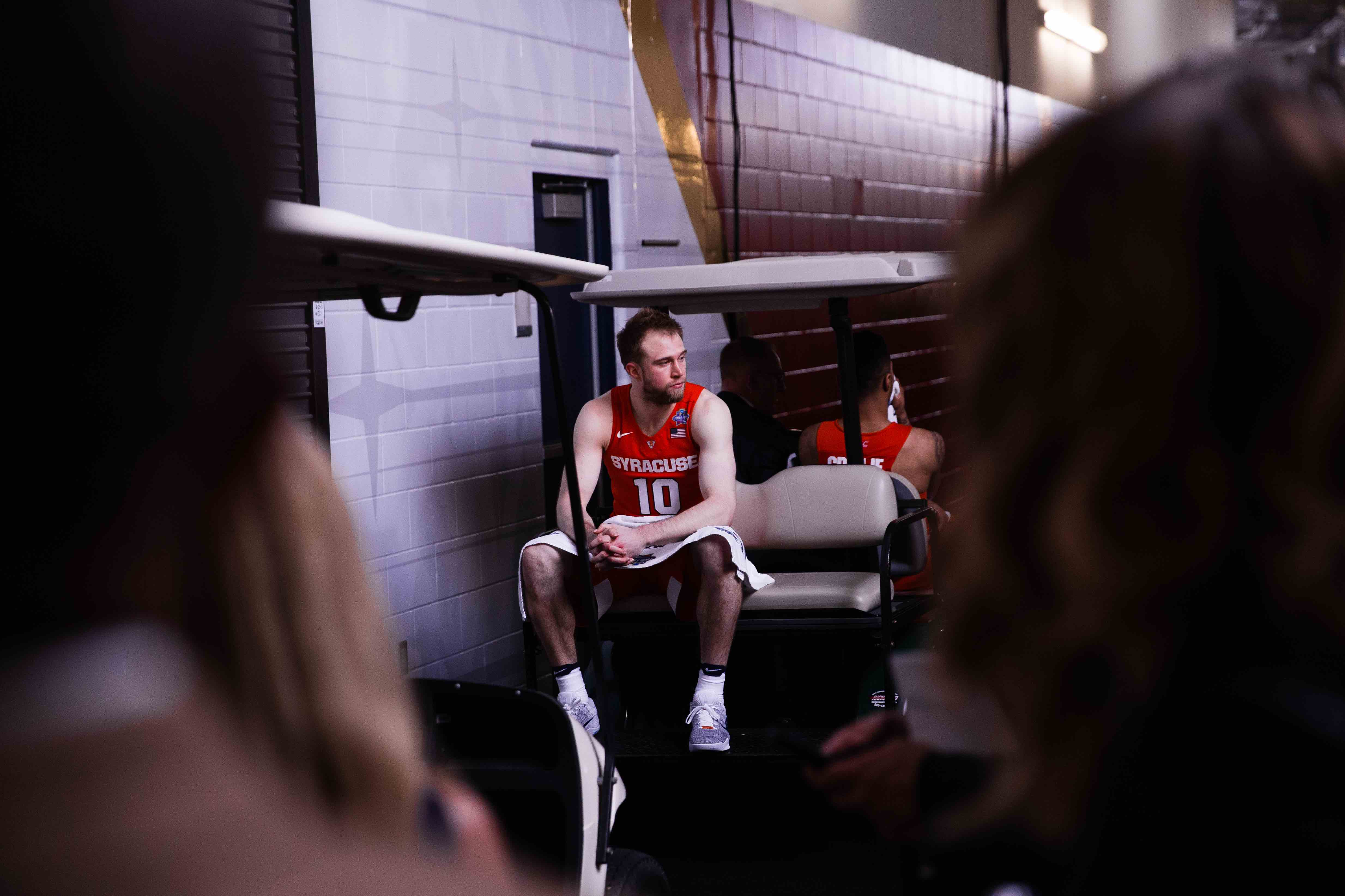 Trevor Cooney after Syracuse takes on North Carolina during the NCAA Final Four at NRG Stadium in Houston, TX on April 2, 2016. Photo by Sam Maller
