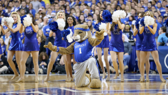 LEXINGTON, KY - MARCH 07: The Kentucky Wildcats mascot and cheerleaders perform during the game against the Florida Gators at Rupp Arena on March 7, 2015 in Lexington, Kentucky. (Photo by Andy Lyons/Getty Images)