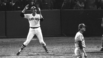 EMOTIONAL, BASEBALL, WORLD SERIES GAME SIX, BOSTON RED SOX, CINCINNATI REDS, PITCHER, SPECTATORS, CATCHER HIT HOMER, HOME RUN, GAME-WINNING, ACTION, GESTURING WITH ARMS,