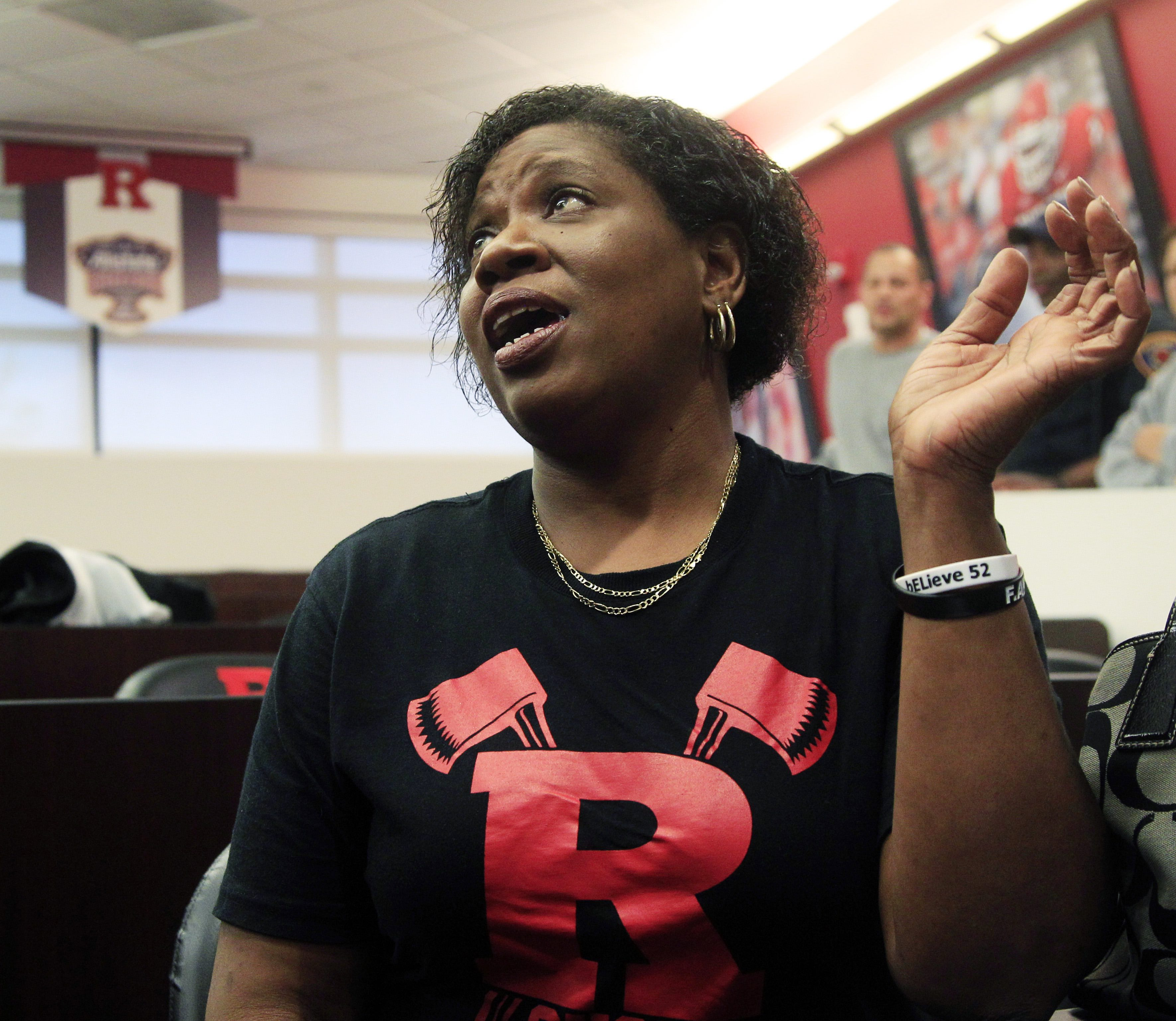 Karen LeGrand, mother of paralyzed former Rutgers defensive tackle Eric LeGrand, sits in Piscataway, N.J., Wednesday, May 2, 2012, as she describes how hard it was to keep a secret from her son after his former coach Greg Schiano, now coach of the Tampa Bay Buccaneers, called to tell her that he was planning to sign Eric to the NFL football team. LeGrand broke two vertebrae and suffered a serious spinal cord injury on Oct. 16, 2010, during a kickoff return against Army. (AP Photo/Mel Evans)