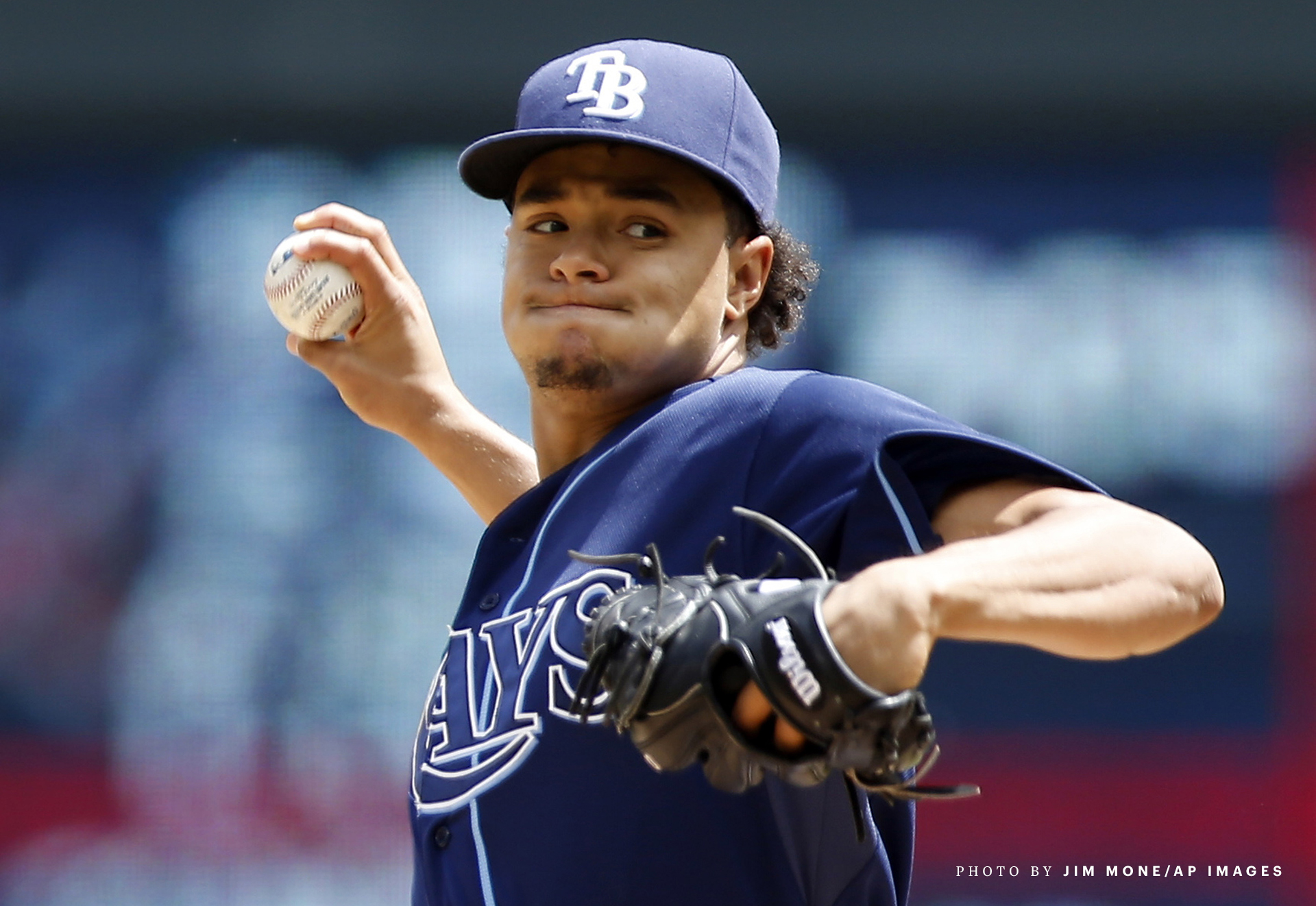 Tampa Bay Rays pitcher Chris Archer throws against the Minnesota Twins in the first inning of a baseball game, Sunday, May 17, 2015, in Minneapolis. (AP Photo/Jim Mone)