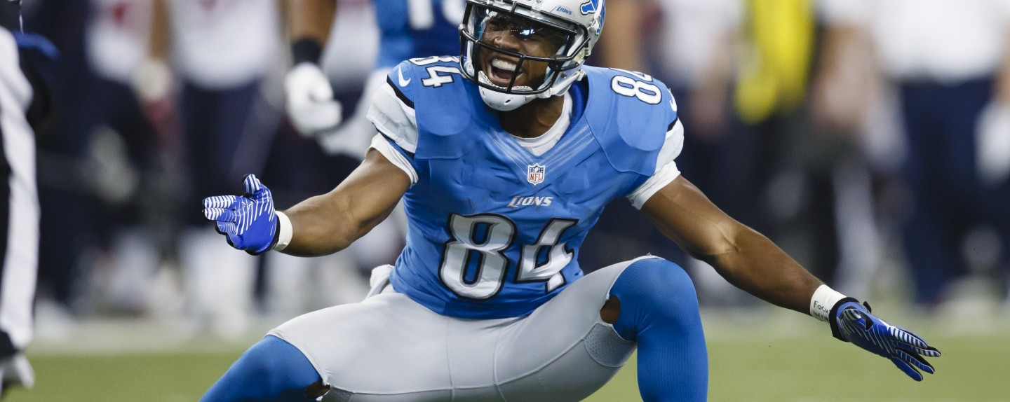 Detroit Lions wide receiver Ryan Broyles (84) celebrates making a reception against the Houston Texans in the first half of NFL football game at Ford Field in Detroit, Thursday, Nov. 22, 2012. (AP Photo/Rick Osentoski)