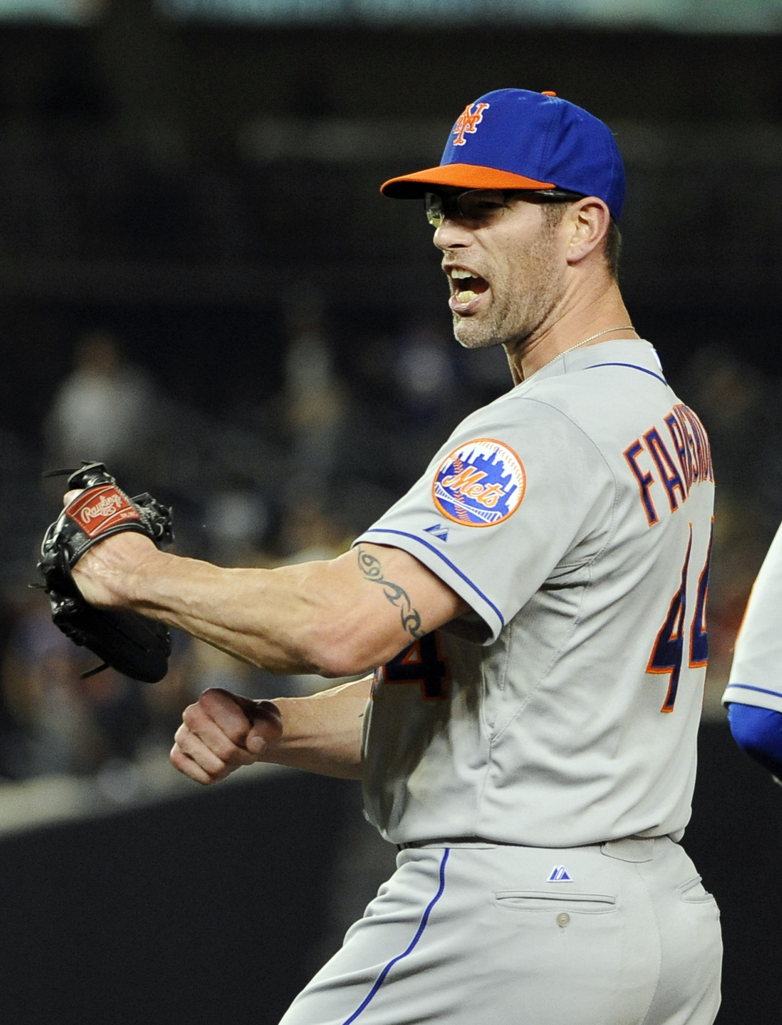New York Mets relief pitcher Kyle Farnsworth celebrates after the Mets beat the New York Yankees 9-7 in an interleague baseball game at Yankee Stadium on Monday, May 12, 2014, in New York. (AP Photo/Kathy Kmonicek)