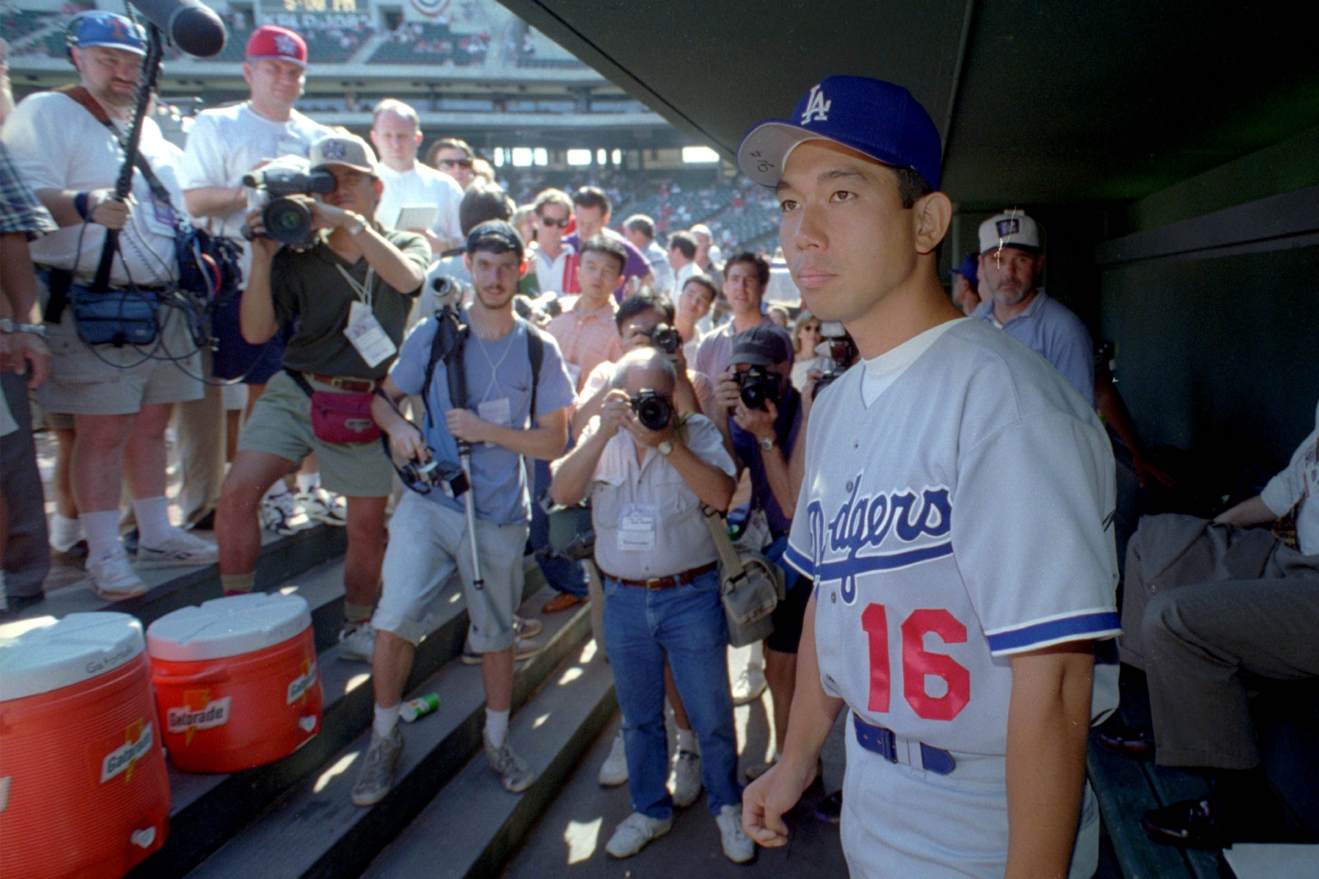 Hideo Nomo of the Los Angeles Dodgers became the first Japanese-born player to appear in an All-Star game in 1995.