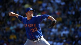 New York Mets starting pitcher Matt Harvey (33) delivers in the fourth inning of a baseball game against the Pittsburgh Pirates in Pittsburgh, Saturday, May 23, 2015. (AP Photo/Gene J. Puskar)