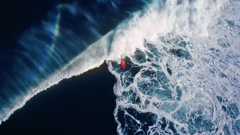 surfer, hanalei bay, kauai 1976