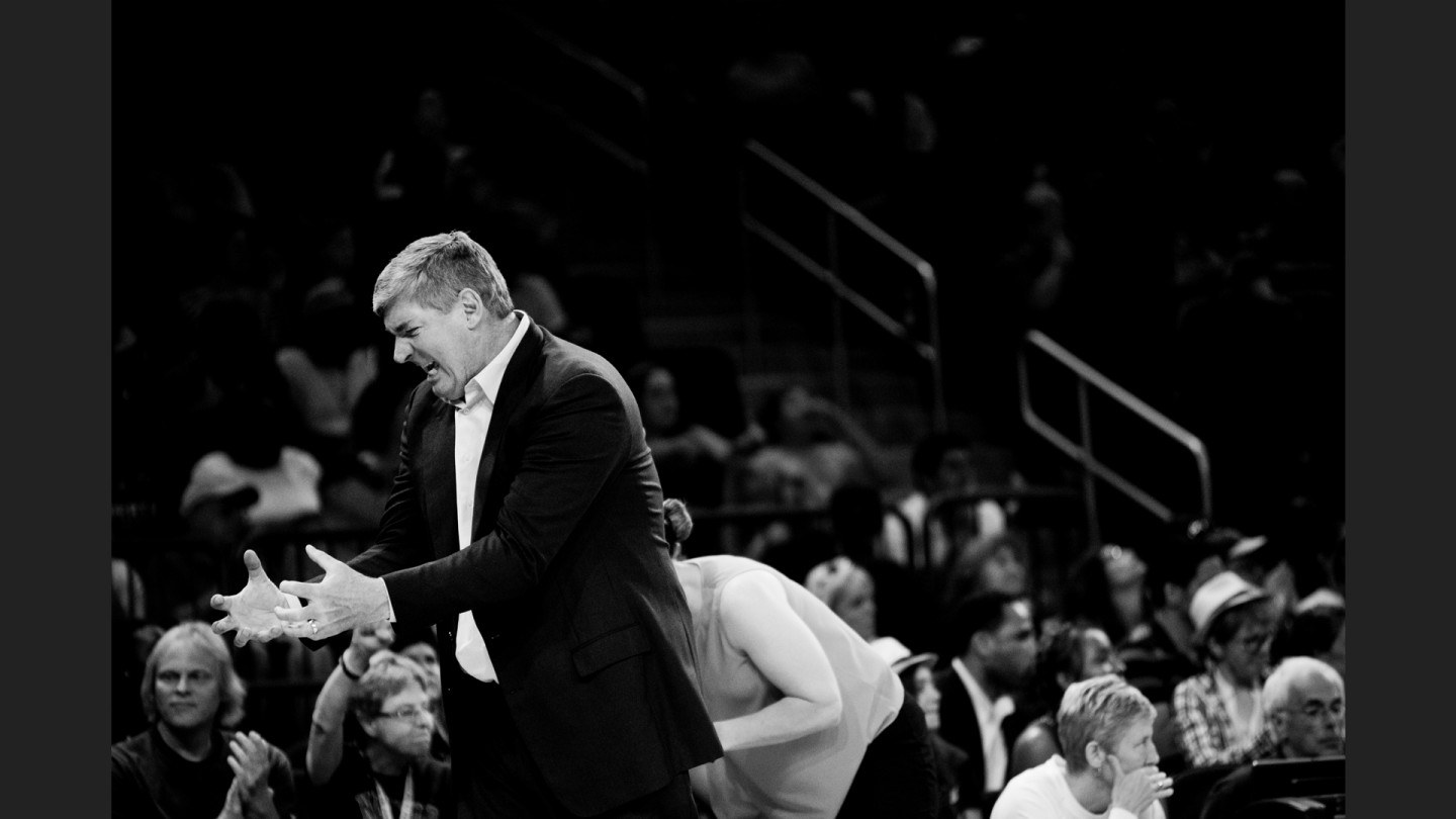Head coach Bill Laimbeer during the game against the Atlanta Dream.