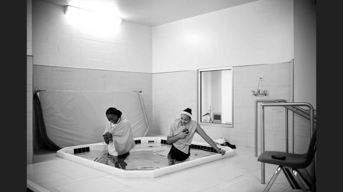 Tina Charles and Kiah Stokes soak in the ice bath after their win against the Lynx.