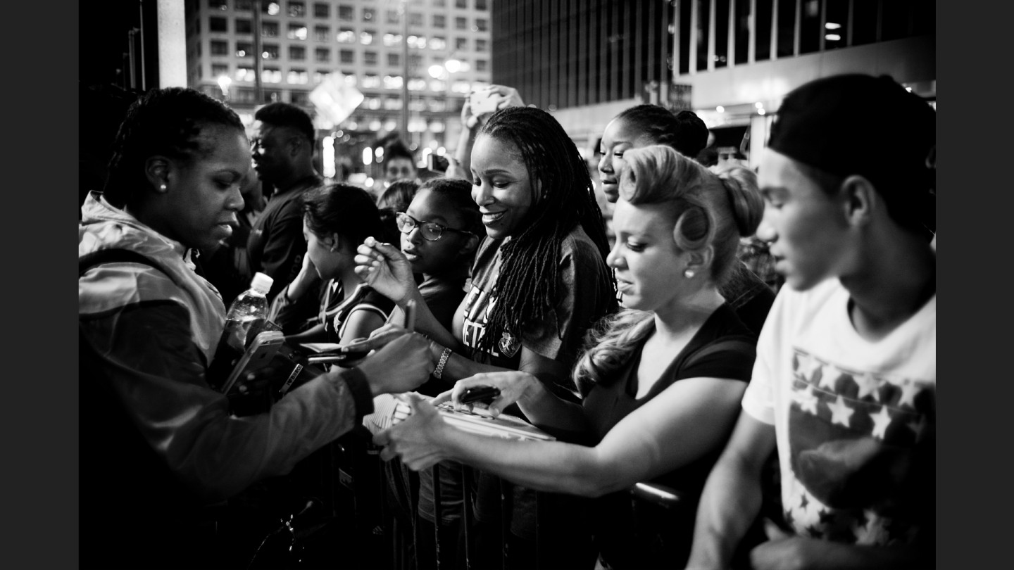 Liberty fans wait for autographs outside Madison Square Garden after the game.