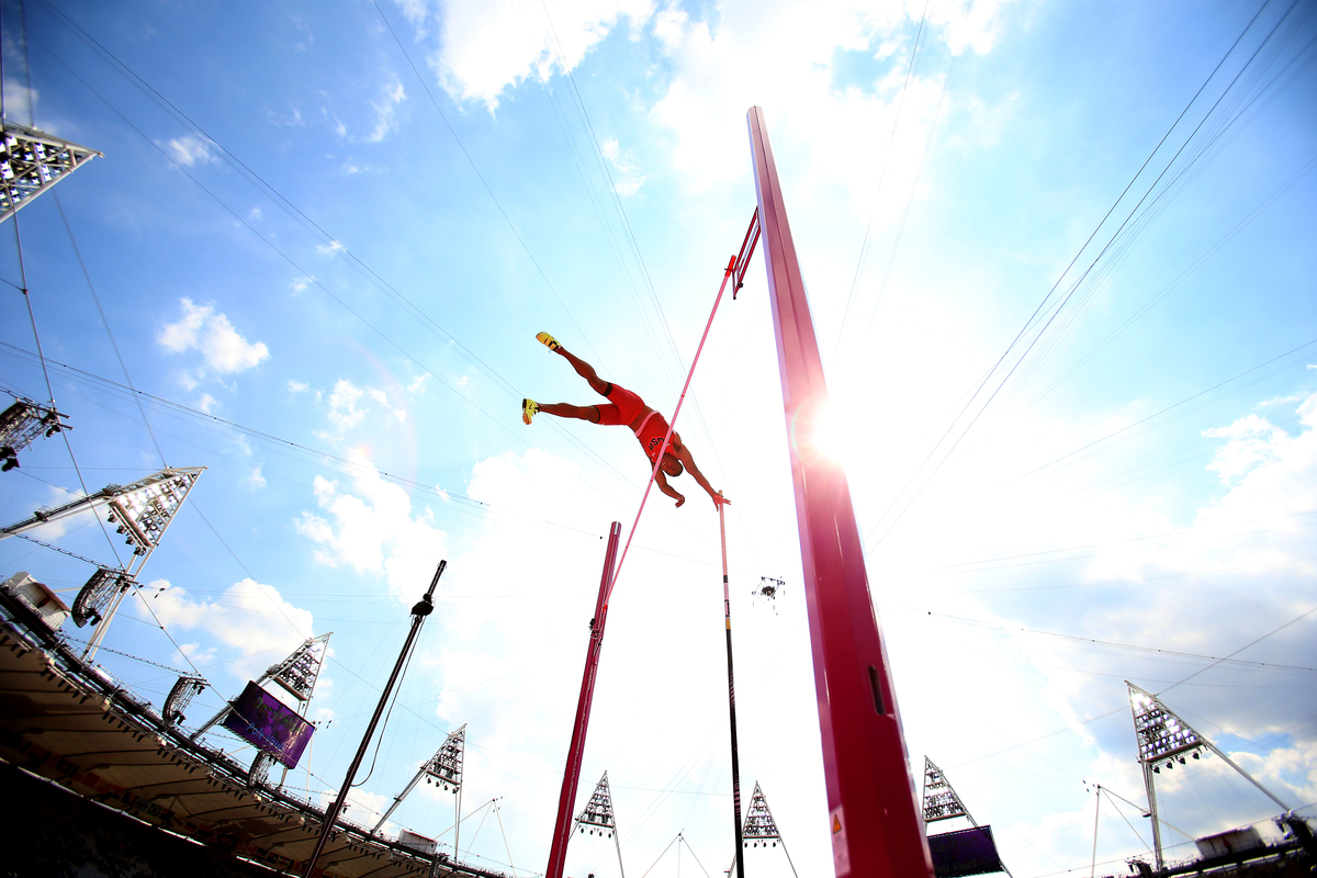 Ashton Eaton of the USA competes in pole vaulting at the Olympic Stadium during day 13 of the London Olympic Games in London, England, United Kingdom on August 9, 2012.