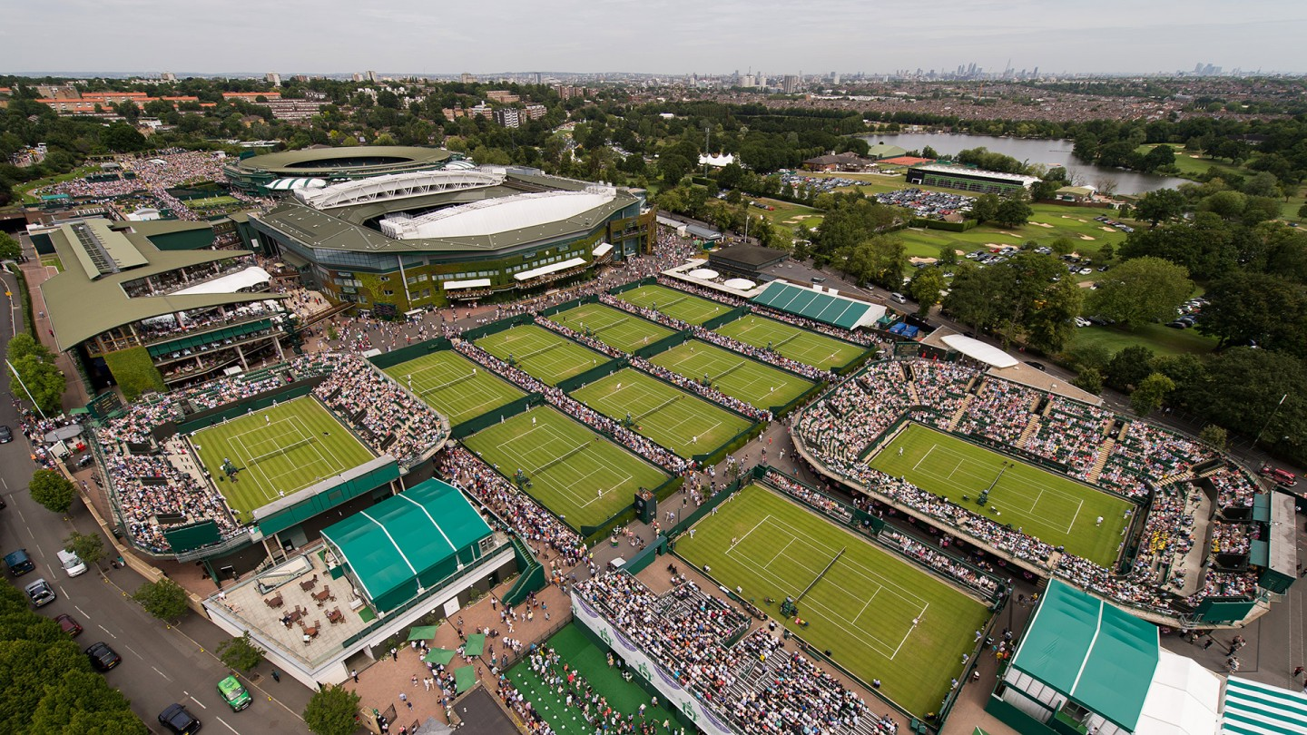 General view overlooking Wimbledon on Day 1.