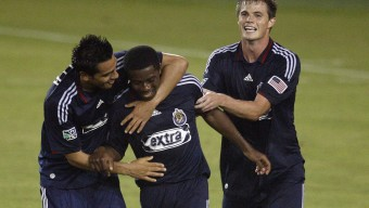 HOUSTON - JULY 06:  Michael Lahoud #11 of Chivas USA is congratulated by Jesus Padilla #10 and Justin Braun #17 after scoring in the second half against the Houston Dynamo at Robertson Stadium on July 6, 2010 in Houston, Texas. Chivas USA won 3-1. (Photo by Bob Levey/Getty Images)