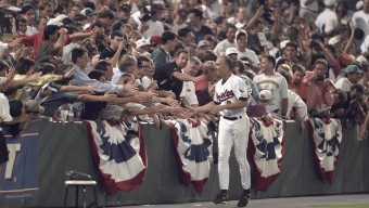 Baseball: Baltimore Orioles Cal Ripken Jr. (8) victorious, shaking hands with fans victory lap around stadium during ceremony after breaking consecutive game streak during game vs California Angels. Baltimore, MD 9/6/1995 CREDIT: Walter Iooss Jr. (Photo by Walter Iooss Jr. /Sports Illustrated/Getty Images) (Set Number: X49092 TK3 R11 F15 )