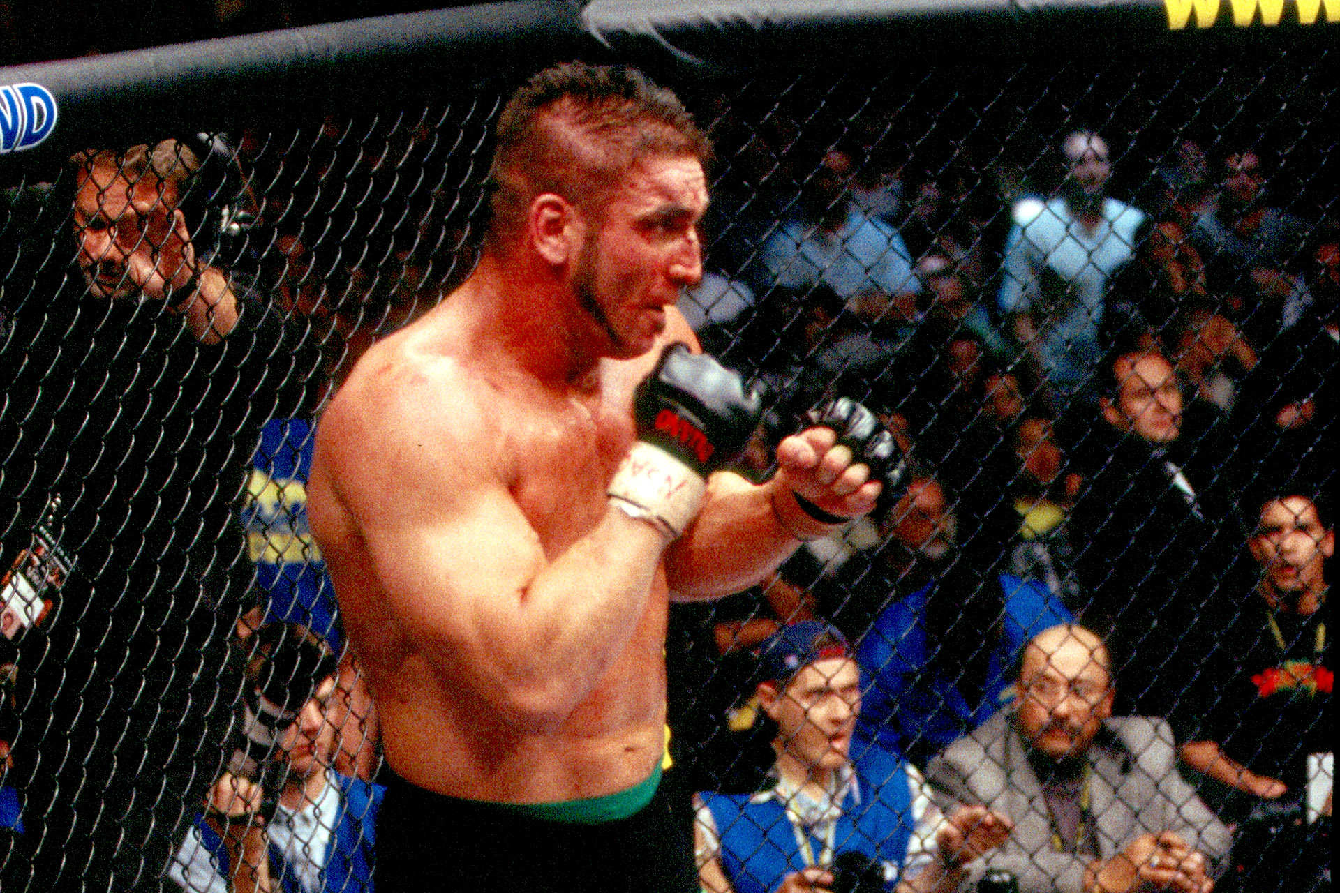 LAS VEGAS - NOVEMBER 22: Ken Shamrock during his bout with Tito Ortiz at UFC 40 at the MGM Grand Garden Arena on November 22, 2002 in Las Vegas, Nevada. (Photo by Josh Hedges/Zuffa LLC/Zuffa LLC via Getty Images)