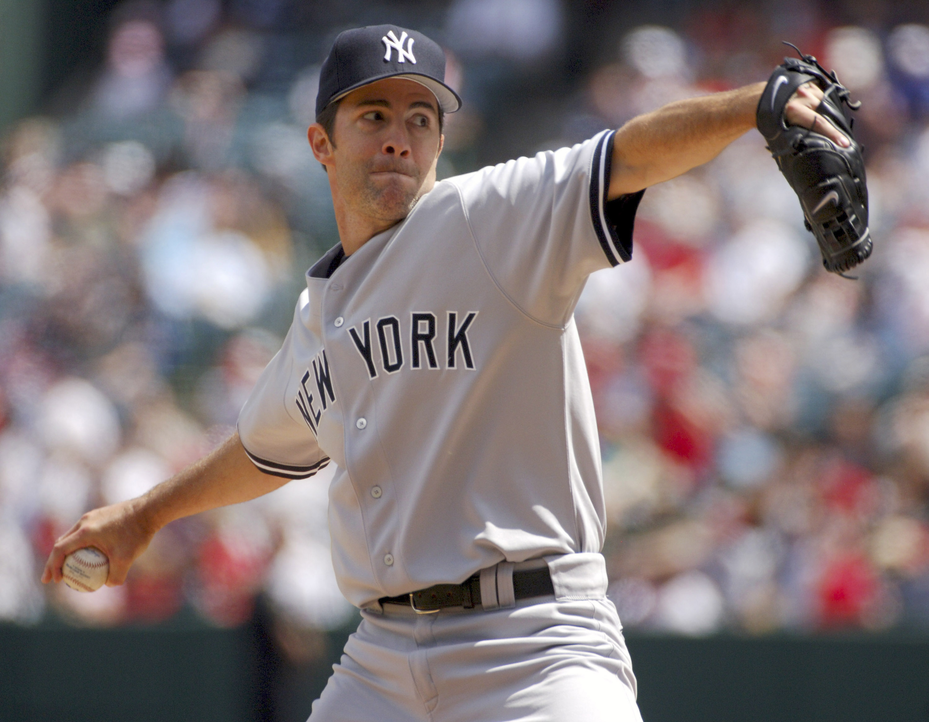 New York Yankees starter Mike Mussina pitches during 10-1 victory over the Los Angeles Angels of Anaheim at Angel Stadium in Anaheim, Calif. on Sunday, April 9, 2006. (Photo by Kirby Lee/Getty Images)
