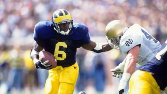 Used 8/29/1994 College Football: Michigan Tyrone Wheatley (6) in action, rushing vs Notre Dame at Michigan Stadium. Ann Arbor, MI 9/11/1993 CREDIT: John Biever (Photo by John Biever /Sports Illustrated/Getty Images) (Set Number: X44914 TK1 R1 F2 )