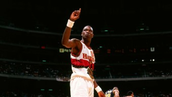 ATLANTA, GA - 1998: Dikembe Mutombo #55 of the Atlanta Hawks wags his finger during a game played against the Indiana Pacers circa 1998 at Philips Arena in Atlanta, Georgia. NOTE TO USER: User expressly acknowledges and agrees that, by downloading and or using this photograph, User is consenting to the terms and conditions of the Getty Images License Agreement. Mandatory Copyright Notice: Copyright 1998 NBAE (Photo by Scott Cunningham/NBAE via Getty Images)