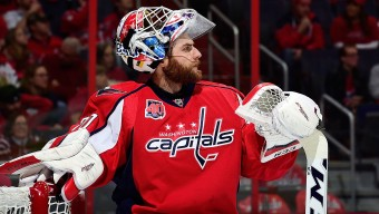 WASHINGTON, DC - APRIL 15:  Braden Holtby #70 of the Washington Capitals looks on during the first period against the New York Islanders in Game One of the Eastern Conference Quarterfinals during the 2015 NHL Stanley Cup Playoffs at Verizon Center on April 15, 2015 in Washington, DC.  (Photo by Patrick McDermott/NHLI via Getty Images)