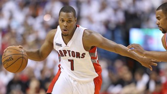 TORONTO, ON - APRIL 18:  Kyle Lowry #7 of the Toronto Raptors drives with the ball against the Washington Wizards in Game One of the NBA Eastern Conference Quarterfinals at the Air Canada Centre on April 18, 2015 in Toronto, Ontario, Canada. The Wizards defeated the Raptors 93-86 to take a 1-0 series lead. NOTE TO USER: user expressly acknowledges and agrees by downloading this Photograph, user is consenting to the terms and conditions of the Getty Images License Agreement. (Photo by Claus Andersen/Getty Images)