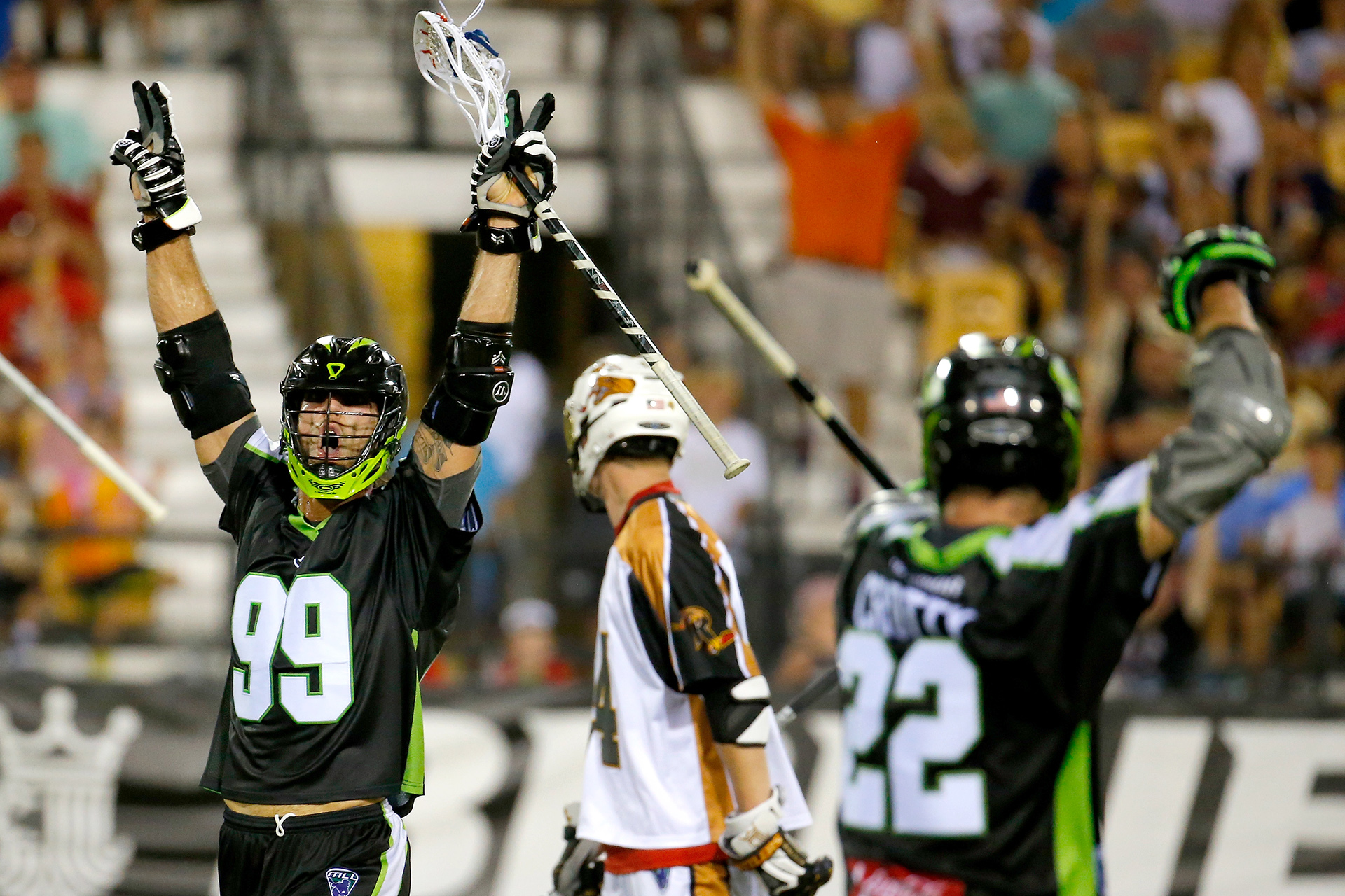 KENNESAW, GA - AUGUST 08:  Paul Rabil #99 of the New York Lizards celebrates after scoring a goal against the Rochester Rattlers during the 2015 Major League Lacrosse Championship Game at Fifth Third Bank Stadium on August 8, 2015 in Kennesaw, Georgia.  (Photo by Kevin C. Cox/Getty Images)
