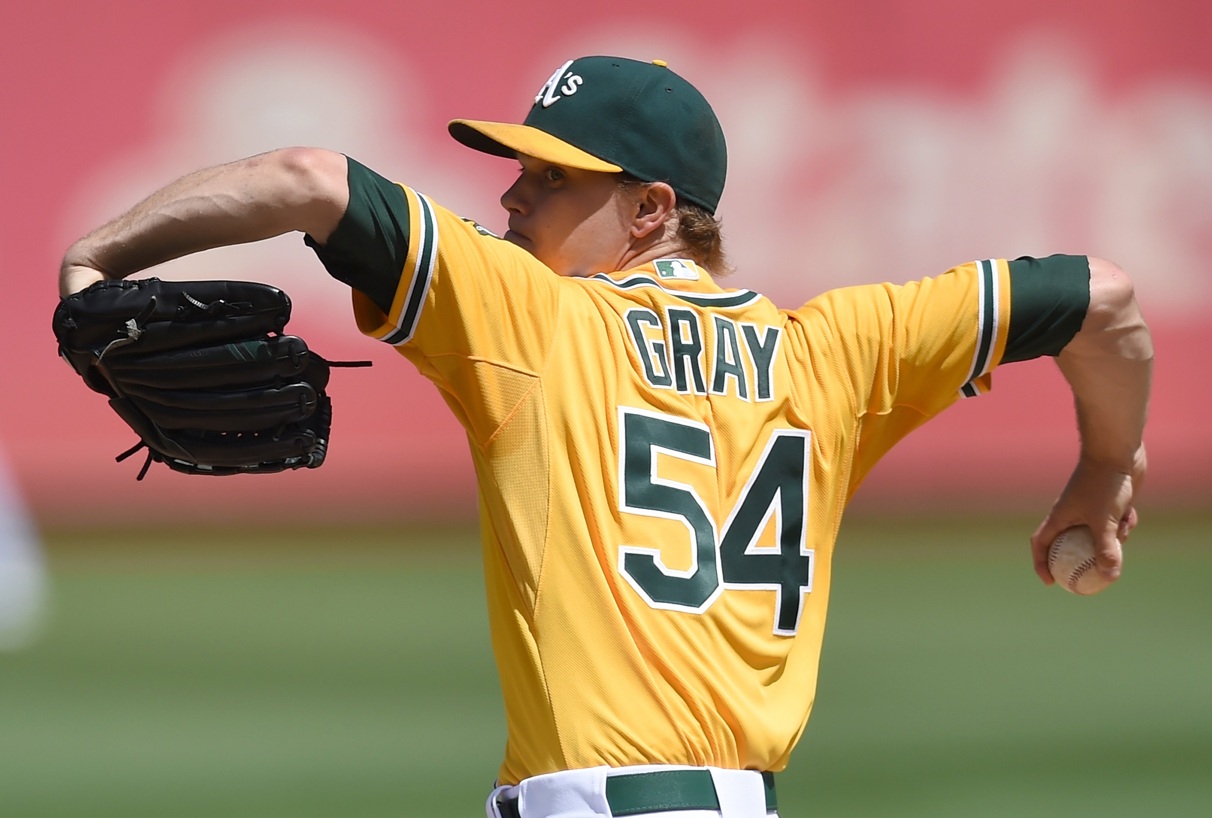 OAKLAND, CA - SEPTEMBER 02: Sonny Gray #54 of the Oakland Athletics pitches against the Los Angeles Angels of Anaheim in the top of the first inning at O.co Coliseum on September 2, 2015 in Oakland, California. (Photo by Thearon W. Henderson/Getty Images)