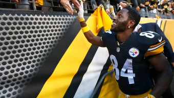PITTSBURGH, PA - NOVEMBER 08:  Antonio Brown #84 of the Pittsburgh Steelers greets fans as he leaves the field after the game against the Oakland Raiders at Heinz Field on November 8, 2015 in Pittsburgh, Pennsylvania.  (Photo by Jared Wickerham/Getty Images)