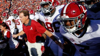 AUBURN, AL - NOVEMBER 28:  Head coach Nick Saban of the Alabama Crimson Tide prepares to lead his team onto the field to face the Alabama Crimson Tide at Jordan Hare Stadium on November 28, 2015 in Auburn, Alabama.  (Photo by Kevin C. Cox/Getty Images)