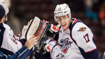 WINDSOR, ON - DECEMBER 28: Defenceman Logan Stanley #17 of the Windsor Spitfires celebrates his goal against the Sarnia Sting on December 28, 2015 at the WFCU Centre in Windsor, Ontario, Canada. (Photo by Dennis Pajot/Getty Images)