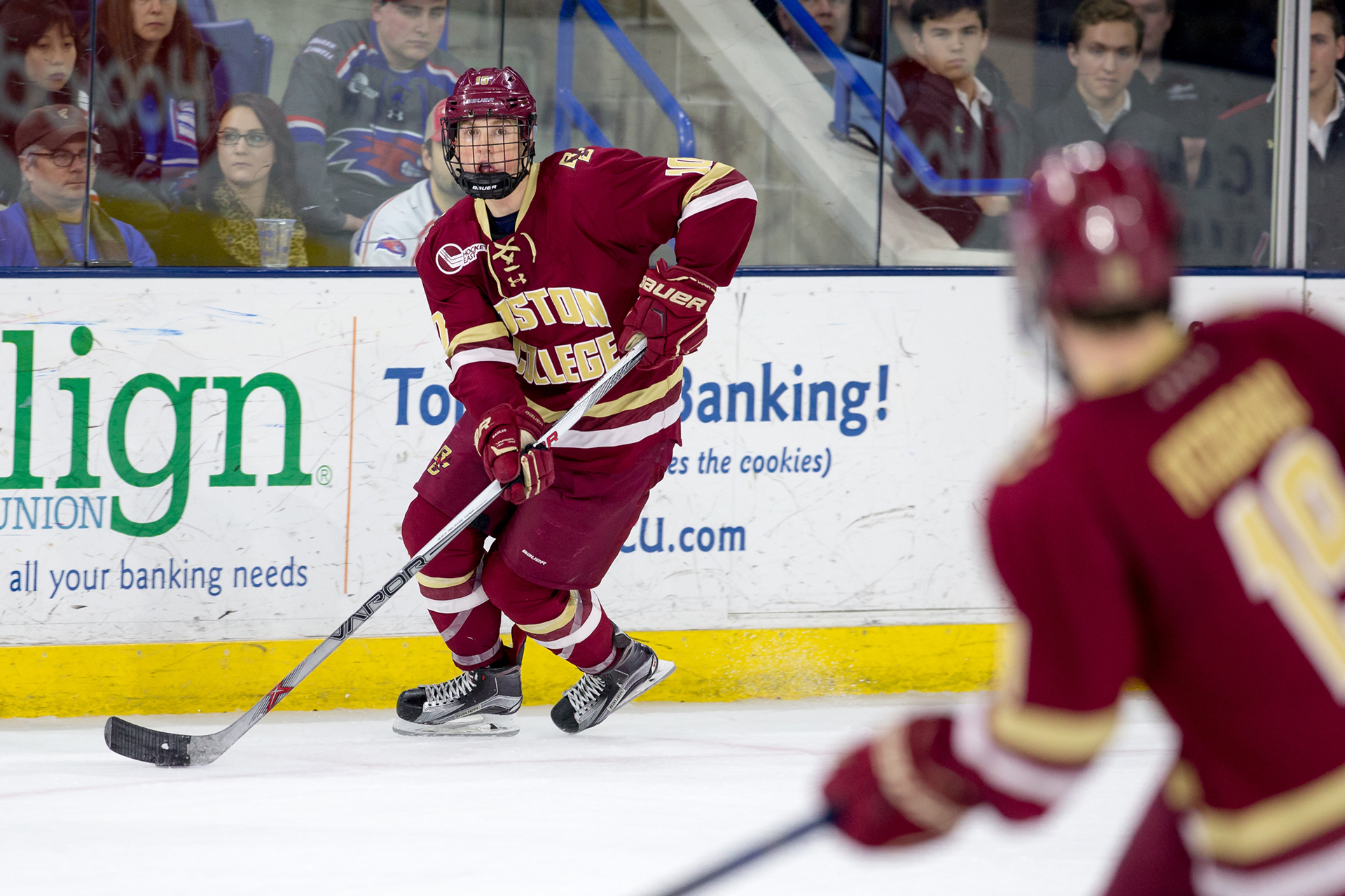LOWELL, MA - FEBRUARY 27: Casey Fitzgerald #5 of the Boston College Eagles skates against the Massachusetts Lowell River Hawks during NCAA hockey at the Tsongas Center on February 27, 2016 in Lowell, Massachusetts. The River Hawks won 3-1. (Photo by Richard T Gagnon/Getty Images)