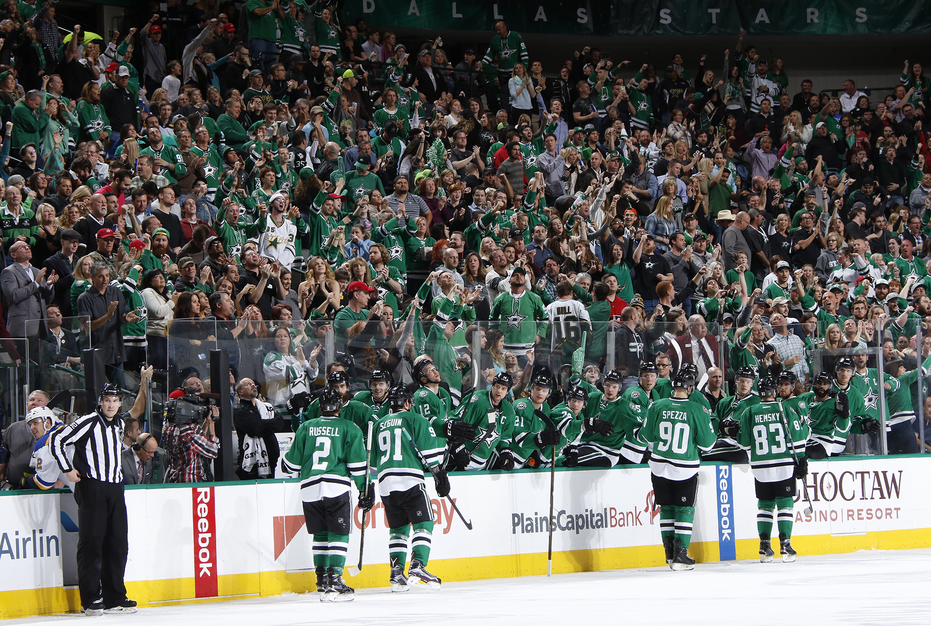 DALLAS, TX - MARCH 12: Kris Russell #2, Tyler Seguin #91, Jason Spezza #90, Ales Hemsky #83 and the Dallas Stars celebrate a goal against the St. Louis Blues at the American Airlines Center on March 12, 2016 in Dallas, Texas. (Photo by Glenn James/NHLI via Getty Images)
