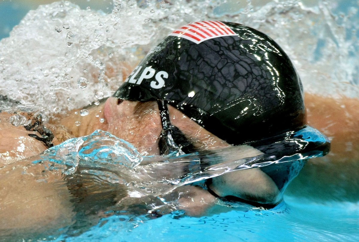 Michael Phelps of the United States competes in the  Men's 200m Freestyle Final held at the National Aquatics Center on Day 4 of the Beijing 2008 Olympic Games on August 12, 2008 in Beijing, China.  Phelps finished the race in first place in a time of 1:42.96 and won the gold medal and set a new World Record.