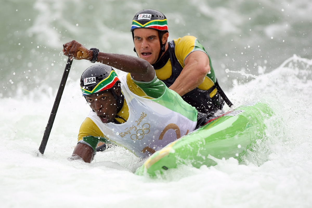 Cameron McIntosh and Cyprian Ngidi of South Africa compete in the canoe/kayak slalom event at the Shunyi Olympic Rowing-Canoeing Park during Day 5 of the Beijing 2008 Olympic Games on August 13, 2008 in Beijing, China.