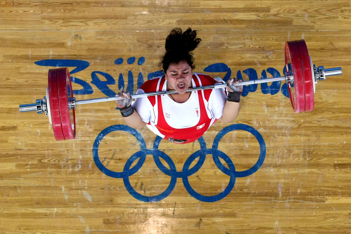 Cristina Cornejo Scheelje of Peru fails to make a clean and jerk lift in the women's +75kg group A weightlifting event at the Beijing University of Aeronautics & Astronautics Gymnasium on Day 8 of the Beijing 2008 Olympic Games on August 16, 2008 in Beijing, China.