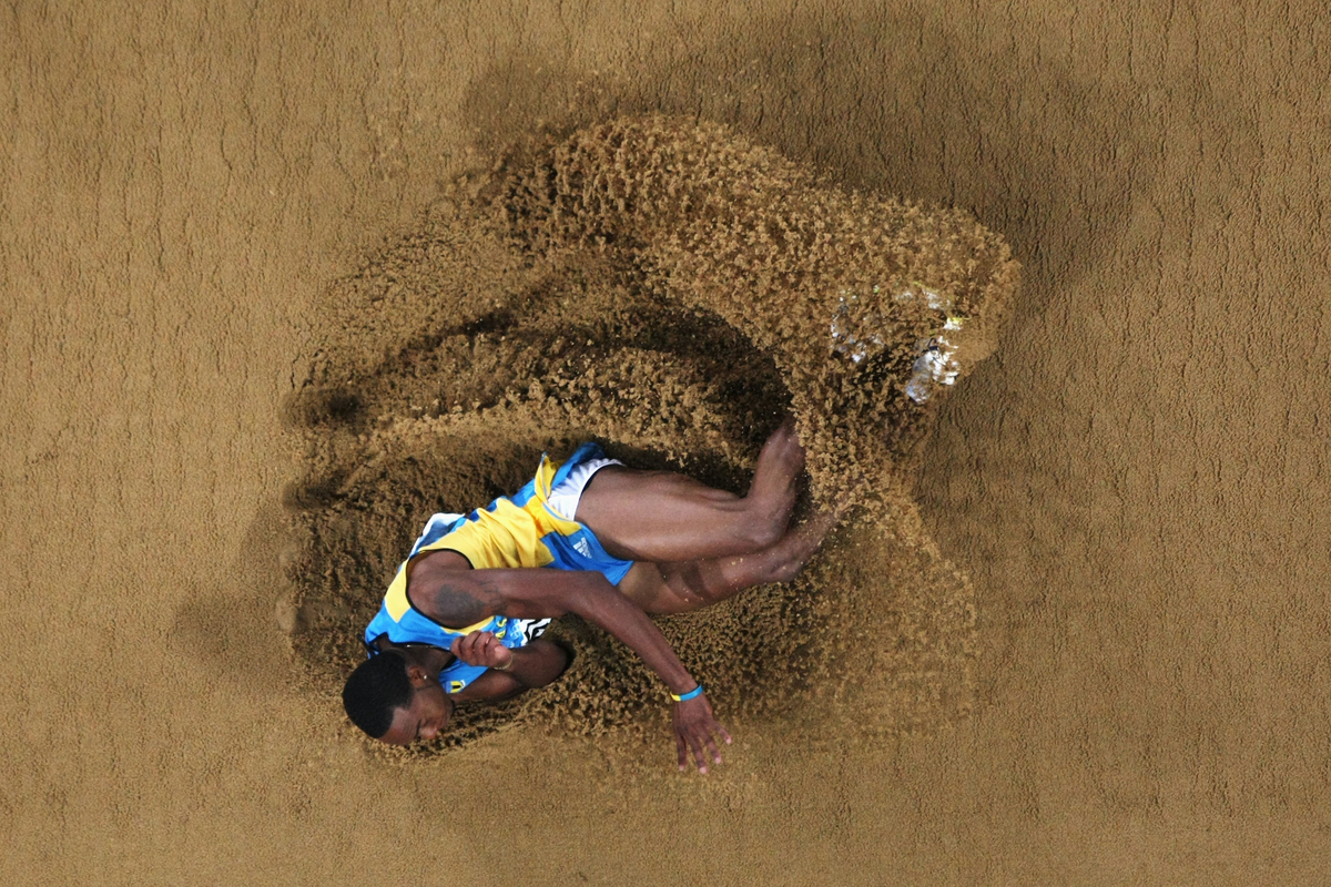 Leevan Sands of Bahamas competes in the Men's Triple Jump Final held at the National Stadium during Day 13 of the Beijing 2008 Olympic Games on August 21, 2008 in Beijing, China.